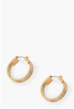 Multi Mixed Metal Triple Hoop Earrings
