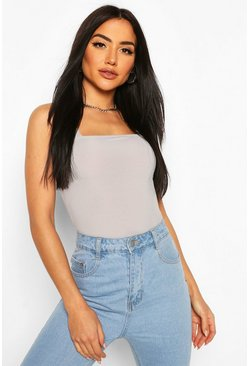 Grey Square Neck Rib Bodysuit