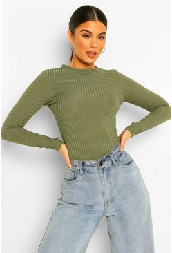 Khaki Scoop Neck Rib Long Sleeve Bodysuit