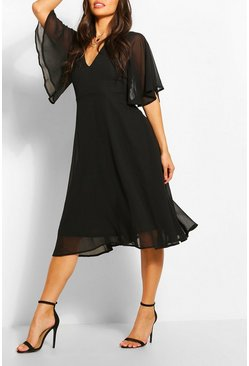Black Angel Sleeve Midi Skater Dress