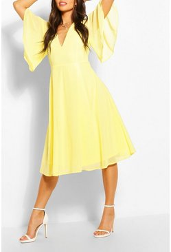 Yellow Angel Sleeve Midi Skater Dress