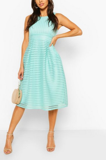Mint Panelled Frill Skirt Skater Dress