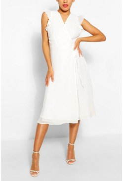 Ivory Angel Sleeve Midi Skater Dress