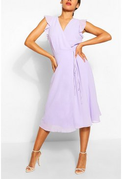 Lilac purple Angel Sleeve Midi Skater Dress
