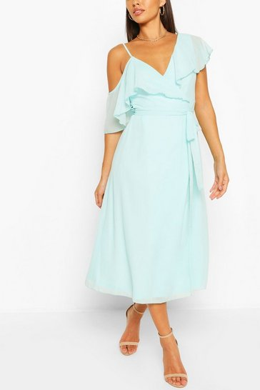 Pastel blue blue Chiffon Cold Shoulder Wrap Midi Skater Dress