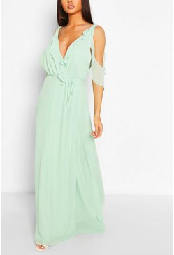 Mint green Boutique Chiffon Frill Wrap Maxi Dress