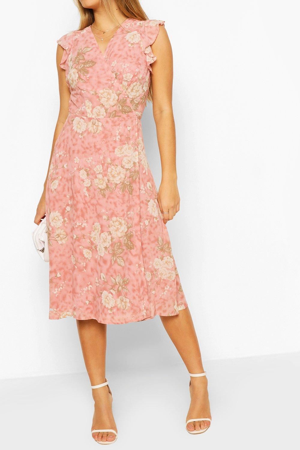 50-80% off Floral Ruffle Wrap Skater Dress