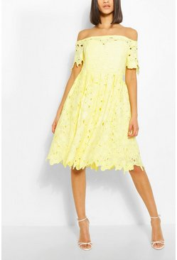 Lemon yellow Boutique Off Shoulder Lace Skater Dress