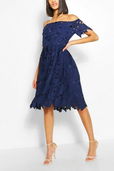 Navy Boutique Off Shoulder Lace Skater Dress