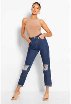 Mid blue High Rise Distressed Boyfriend Jean