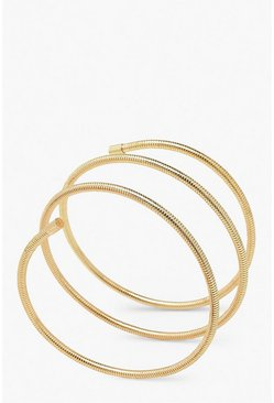 Gold metallic Wrap Round Roll Bracelet