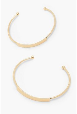 Gold metallic 2 Pack Bar Front Bangle