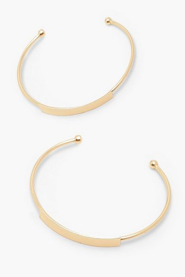 Gold 2 Pack Bar Front Bangle