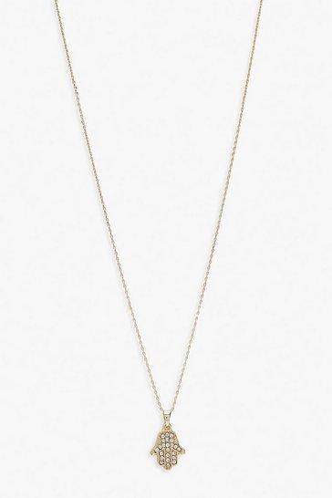 Gold metallic Hamsa Hand Necklace Charm