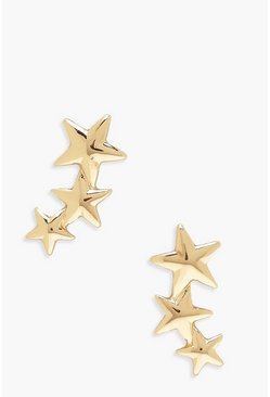 Gold metallic Drop Star Stud Earrings