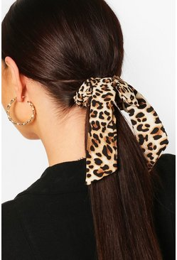 Leopard Bow Detail Scrunchie 2 Pack