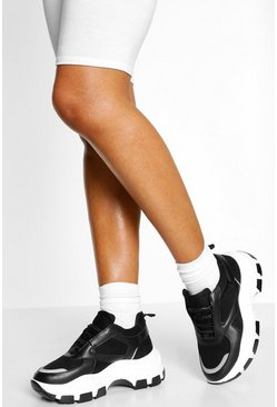 Black Contrast Sole Chunky Platform Trainers
