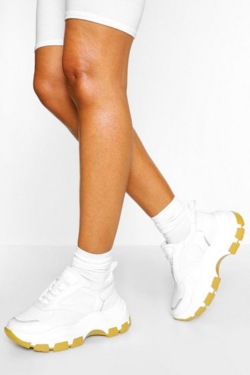 White Contrast Sole Chunky Platform Trainers