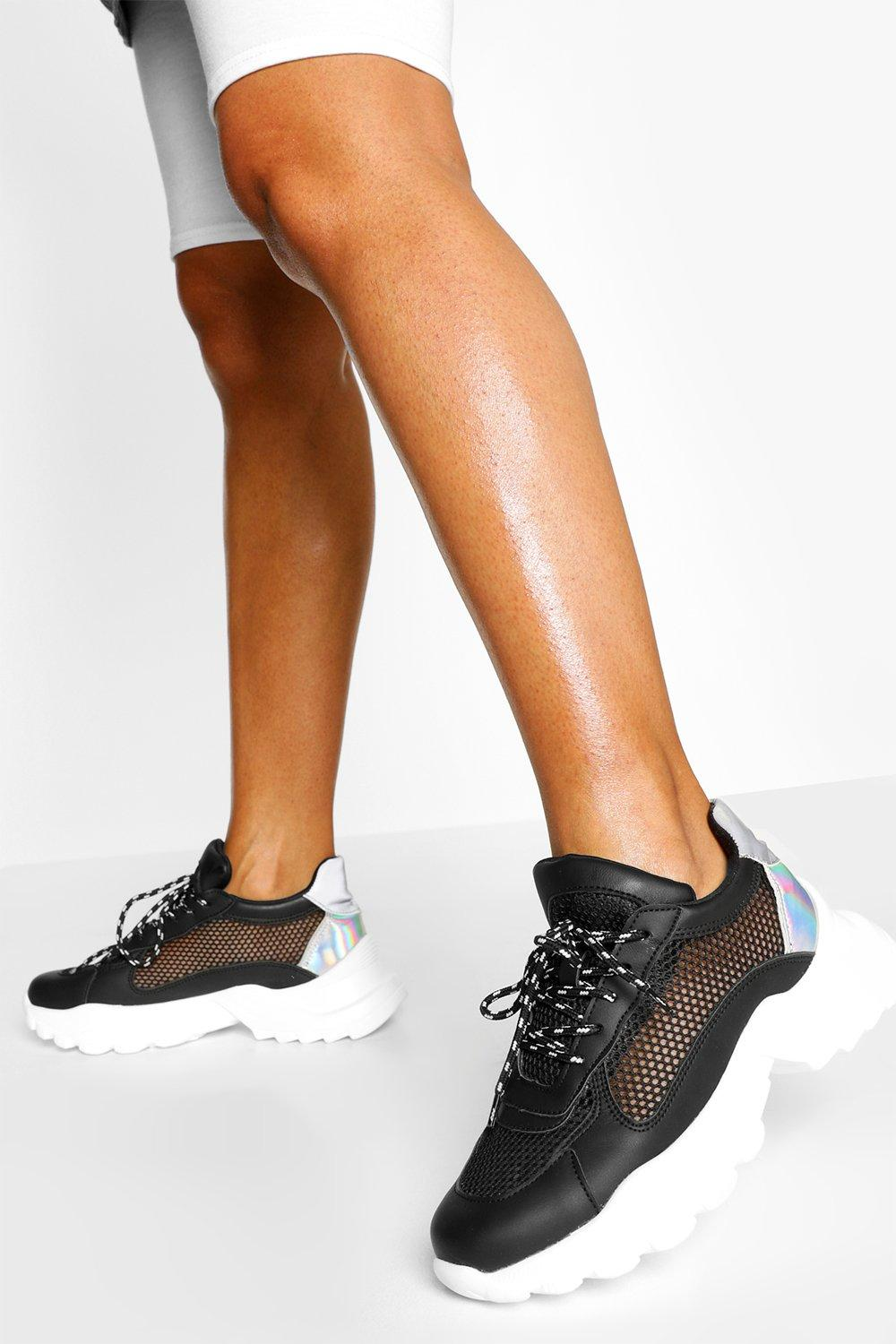 SALE Mesh Panel Chunky Cleated Sole Trainers