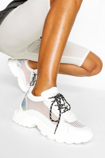 White Mesh Panel Chunky Cleated Sole Trainers