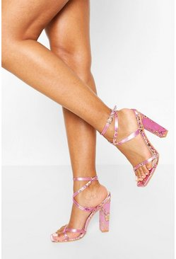 Lilac purple Print Strappy Heels