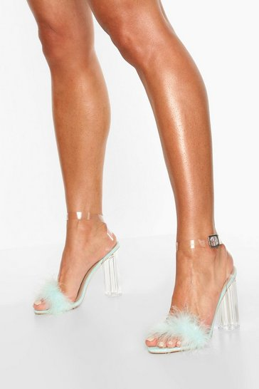 Mint green Feather Clear Heel 2 Parts