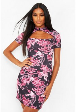 Pink Mandarin Collar Cut Out Mini Dress