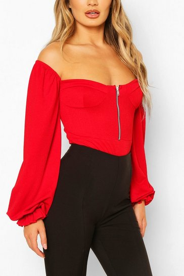 Red Cup Detail Off The Shoulder Bodysuit
