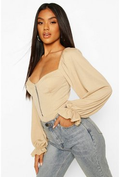 Stone beige Cup Detail Off The Shoulder Bodysuit