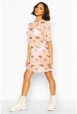 Nude Cherub Print Mesh T-Shirt Dress