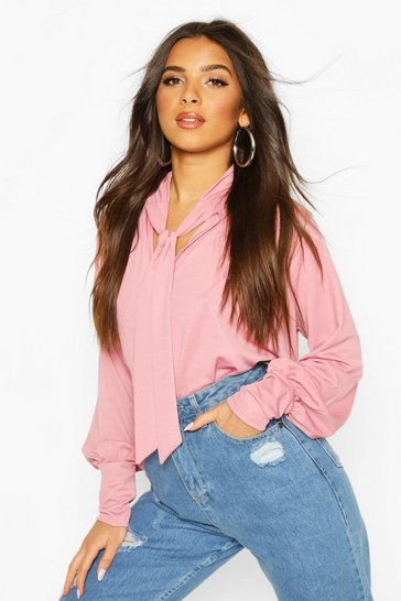 Rose pink Pink Pussy Bow Puff Sleeve Smock