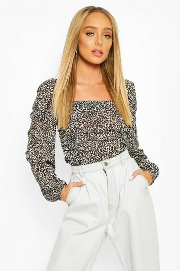 Natural beige Ruched Front Leopard Top