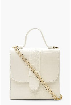 White Croc Tab Small Tote Bag