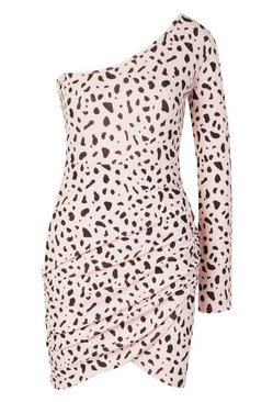 Pink Dalmatian Print One Shoulder Ruched Mini Dress