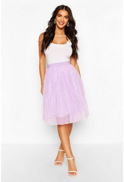 Lilac purple Knee Length Tulle Midi Skirt