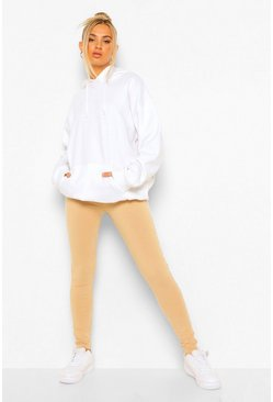Camel beige Side Stripe Basic Jersey Leggings