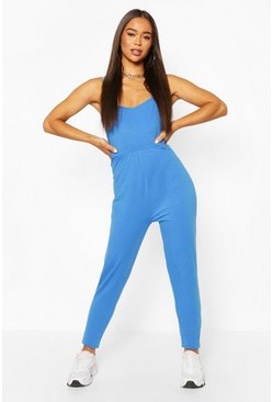 Cobalt blue Basic Viscose Strappy Cami Jumpsuit