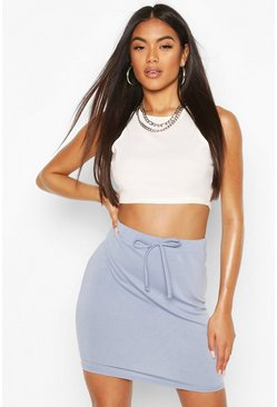 Grey Basic Loopback Mini Skirt