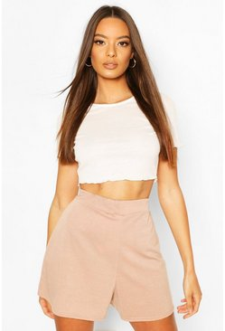 Fawn beige Basic Loopback Shorts