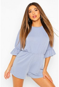 Dusty blue blue Loopback Puff Sleeve Playsuit