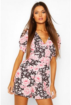 Black Puff Sleeve Oriental Floral Playsuit