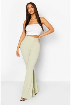 Sage green Self Fabric Belted Scuba Crepe Split Hem Flares