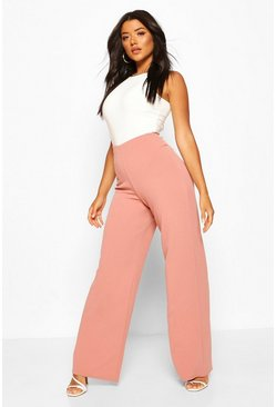 Rose pink Basic High Waist Stretch Wide Leg Trousers