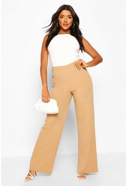 Sand beige Basic High Waist Stretch Wide Leg Pants
