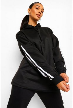 Black Side Stripe Extreme Oversize Hoodie