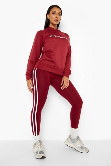 Berry red Woman Hoodie And Legging Tracksuit