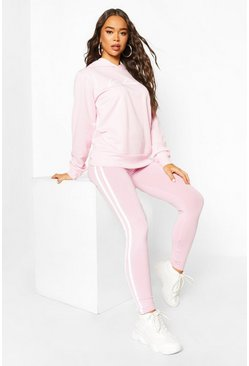 Poederroze pink Woman Hoodie En Leggings Trainingspak