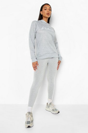 Grey Woman Hoodie And Legging Tracksuit