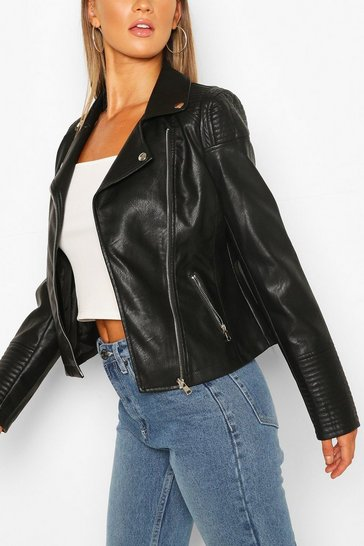 Black Quilt Detail Faux Leather Biker Jacket