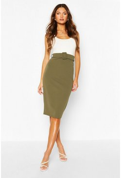 Khaki Self Fabric Belt Midi Skirt